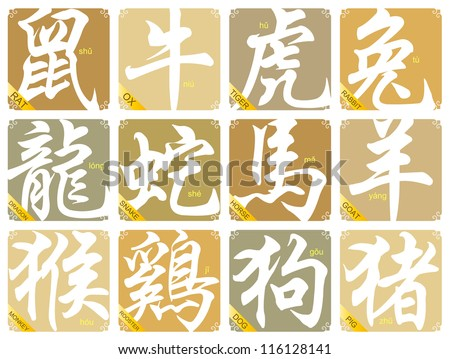 12 Chinese zodiac signs