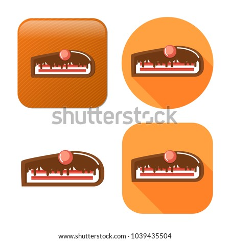 chocolate cake dessert icon - vector sweet food - birthday cake
