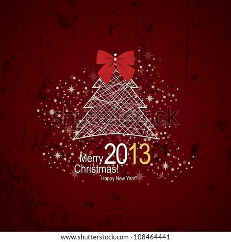 Christmas & New Year. Vector greeting card - stock vector