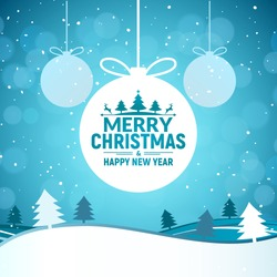 2020 Christmas and Happy New Year greeting card background. Xmas ball on winter landscape decoration design