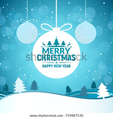 2019 Christmas and Happy New Year greeting card background. Xmas ball on winter landscape decoration design.