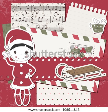 Christmas and New Year scrapbook  card