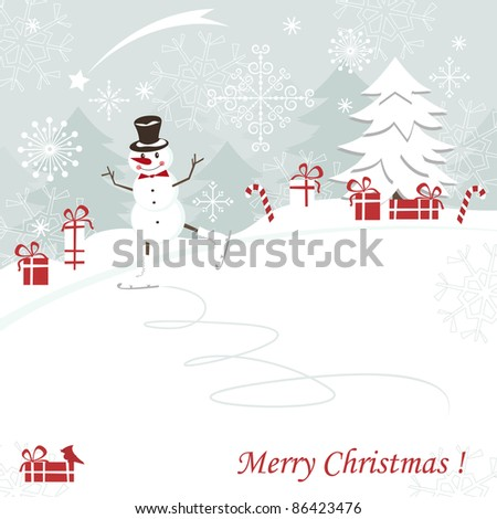 Christmas and New Years greeting card with skating happy snowman