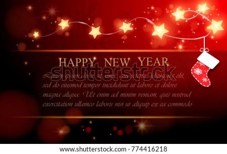 Christmas background. New Year, garland, star.konfety. vector illustration Stok fotoğraf ©