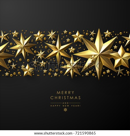 Christmas Background with Border made of Cutout Gold Foil Stars. Chic Christmas Greeting Card.