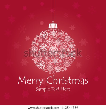 Christmas ball made of snowflakes isolated / Vector Christmas ball made from simple snowflakes - Christmas card / Christmas background with christmas ball illustration.