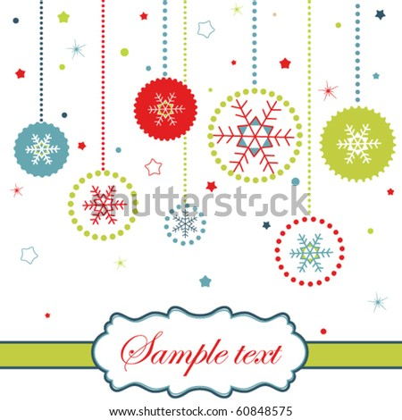 Christmas balls card with snowflakes