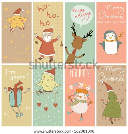 8 Christmas banner with cartoon characters