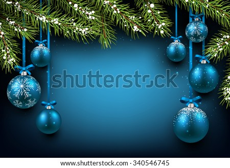 Christmas blue background with fir branches and balls. Vector illustration.