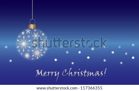 Christmas card with christmas ornament