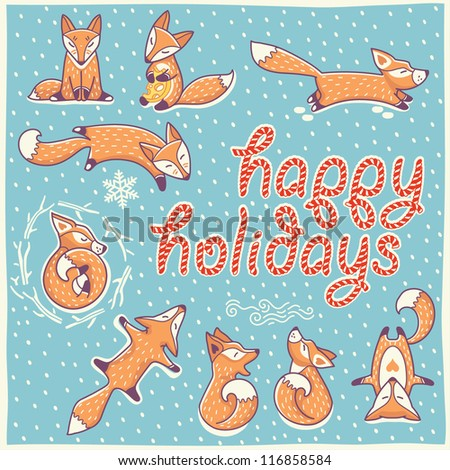 Christmas card with red little foxes