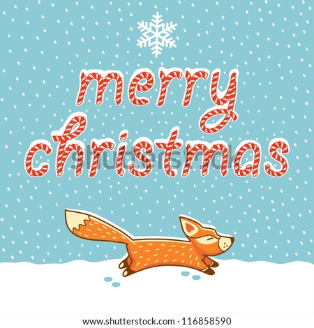 Christmas cards with little fox