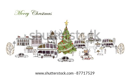 Christmas city and roads