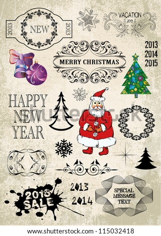 Christmas decoration collection. Set of calligraphic and typographic elements, frames, vintage labels, all for design.
