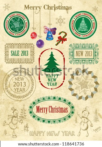 Christmas decoration collection | Set of calligraphic and typographic elements, frames, vintage labels.