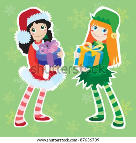 christmas elf and santa girl