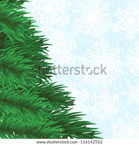 christmas frame with fir-tree and snowflakes background