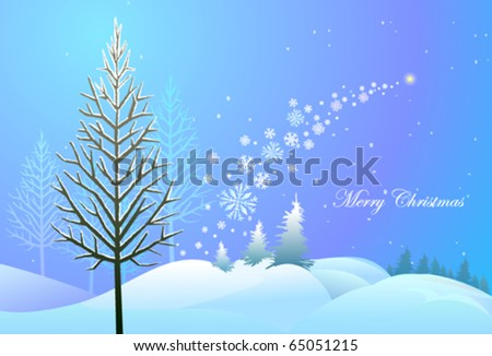 Christmas landscape with snow flakes , trees and a star
