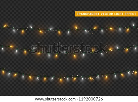 Christmas lights, Xmas decorations glowing golden and white garlands.