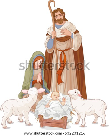 Stock Photo Christmas nativity scene with Mary, Joseph and baby Jesus