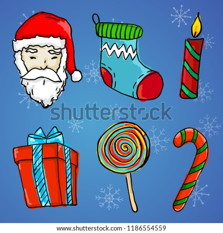 6 Christmas Ornament - Santa Claus, Gift, Candle, Sock, Lollipop and Candy Cane #1186554559