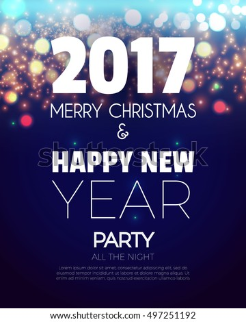 christmas party poster happy 2017 new year flyer greeting card invitation menu design template vector illustration ez canvas