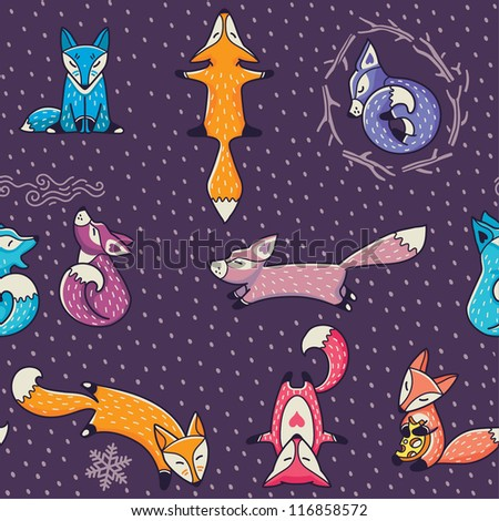 Christmas seamless pattern with colorful little foxes - stock vector