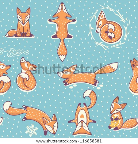 Christmas seamless pattern with red little foxes