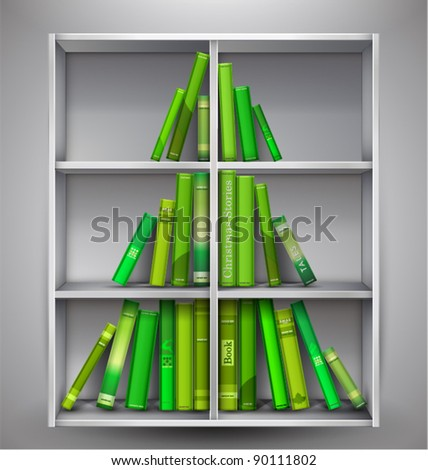 """Christmas Stories"". Christmas tree formed from books on the bookshelf. Vector Illustration."