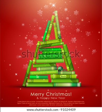 """Christmas Stories Collection"". Christmas tree formed from books. Vector Illustration."