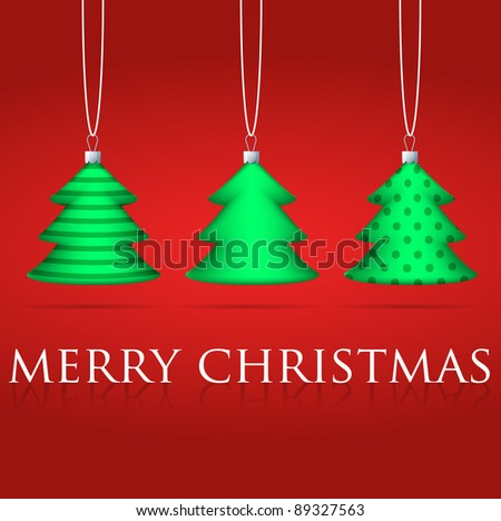 3 Christmas tree bauble card in vector format.