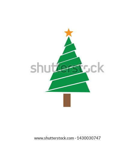 Christmas tree Cedar tree with star vector icon illustration design #1430030747
