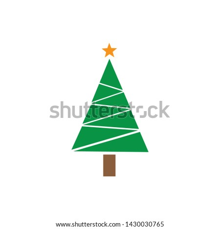 Christmas tree Cedar tree with star vector icon illustration design #1430030765