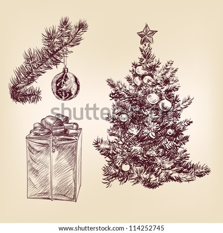 christmas tree for xmas design, with balls and gifts hand drawn  vector illustration
