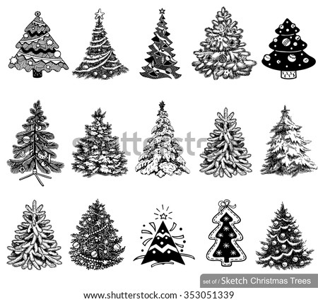 15 christmas tree illustrations