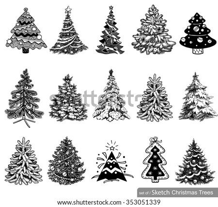 Flat Christmas Trees Vectors Download Free Vector Art Stock