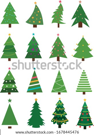 Christmas trees collection. Set of vector Christmas trees Foto stock ©