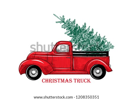 Christmas truck. Vintage vector illustration Christmas red truck with a Christmas tree on a white background. Retro card. Color sketch.