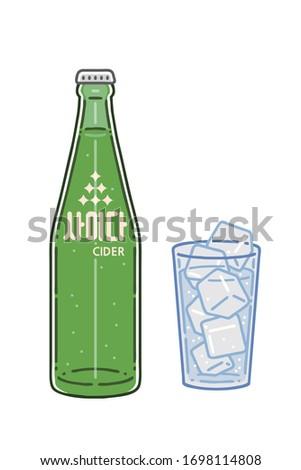 'Cider'. A bottle of lemon-lime soft drink and a glass of drink. A type of soda in Korea. Vector line art illustrations set. The letter on the bottle means cider. Foto stock ©