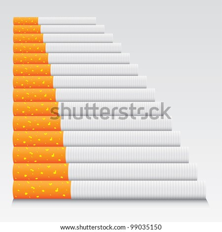 cigarettes in line - detailed realistic illustration