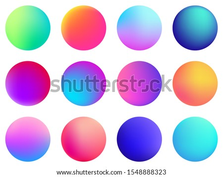 Circle holographic gradients set, sphere buttons. Multicolor green purple yellow orange pink red violet cyan blue fluid circle gradients, colorful soft round buttons, vivid color spheres flat set.