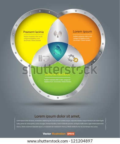 3 circle vector iron style   3d