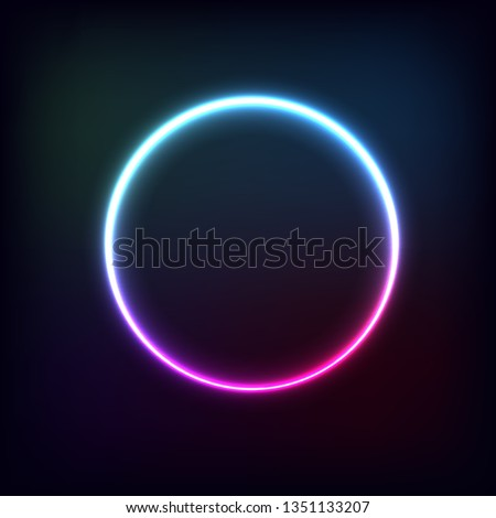 Circle with glowing banded banner. light shine