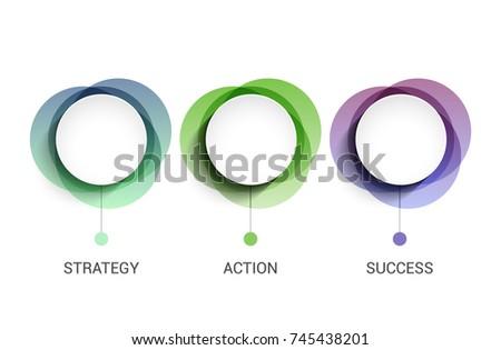 3 circles business presentation concept banner. 3 steps diagram information template for business