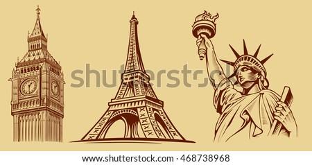 cities symbols sketch  paris