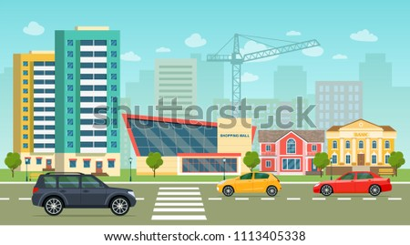 city life set with cars  road
