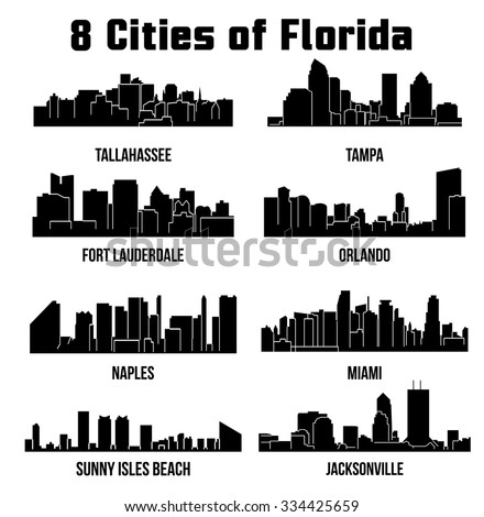 8 city silhouette in florida