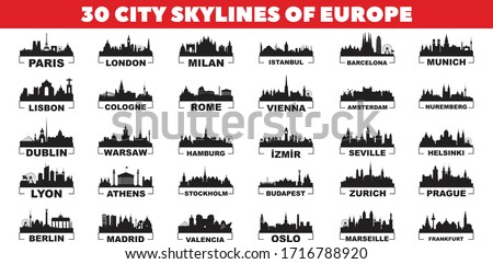 30 city skyline silhouettes from Europe vector design set.