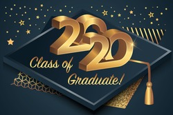 2020 class. The concept of registration of congratulations for school graduates. Complimentary ticket. The concept of rewarding and congratulations to graduates.