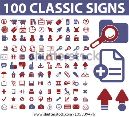 100 classic icons, signs set, vector